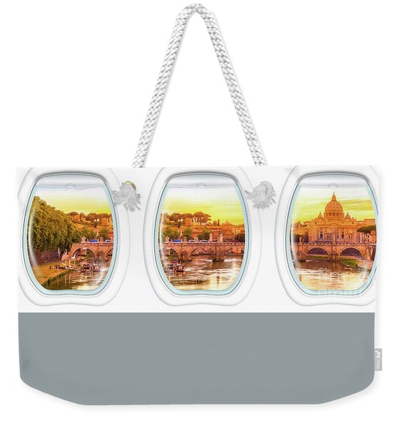 Weekender Tote Bag featuring the photograph Porthole Windows On Rome by Benny Marty