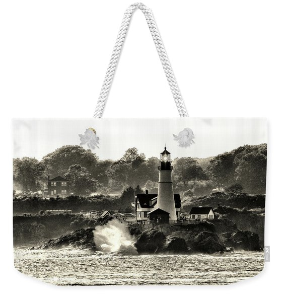 Portland Head Light At Cape Elizabeth In Black And White Weekender Tote Bag
