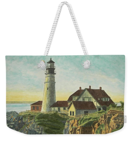 Weekender Tote Bag featuring the painting Portland Head Light At Sunrise by Dominic White