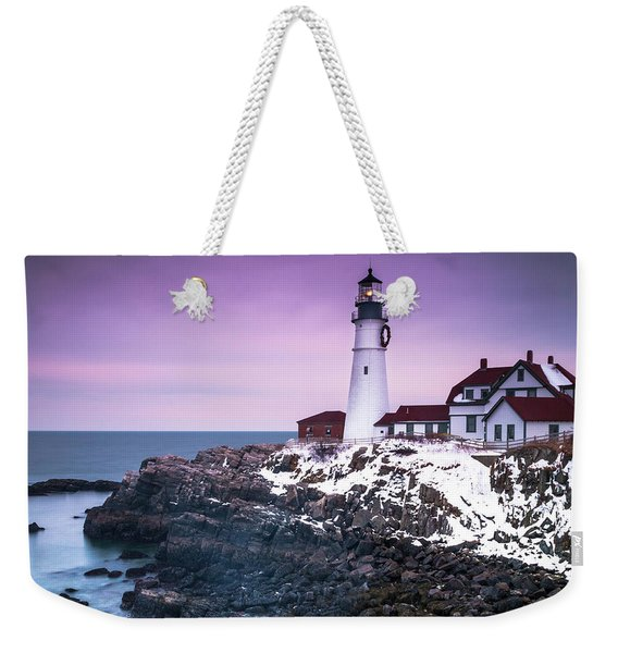 Maine Portland Headlight Lighthouse In Winter Snow Weekender Tote Bag