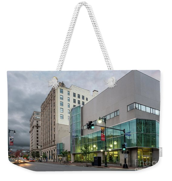 Weekender Tote Bag featuring the photograph Portland Public Library, Portland, Maine #134785-87 by John Bald