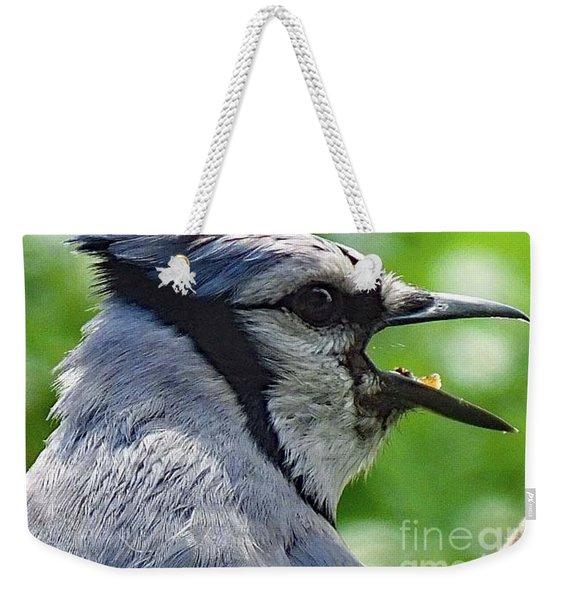 Portrait Of A Blue Jay Weekender Tote Bag