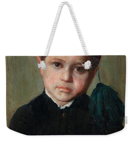 Portrait Of A Boy Wearing A Red Cap Weekender Tote Bag