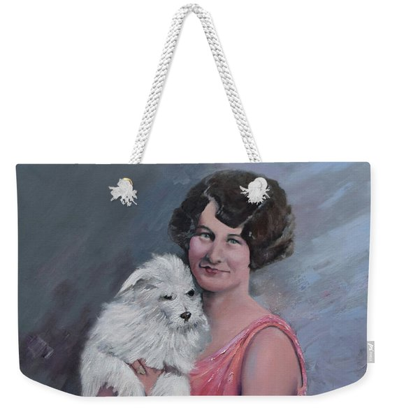 Maggie And Caruso -portrait Of A Flapper Girl Weekender Tote Bag