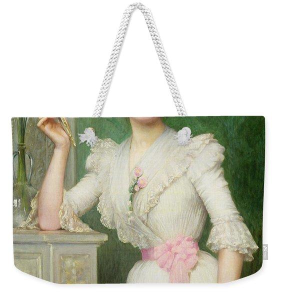 Portrait Of A Lady Holding A Fan Weekender Tote Bag