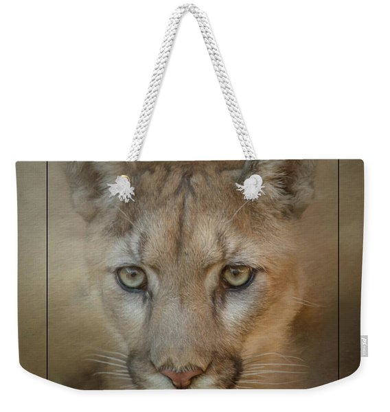 Portrait Of A Mountain Lion Weekender Tote Bag