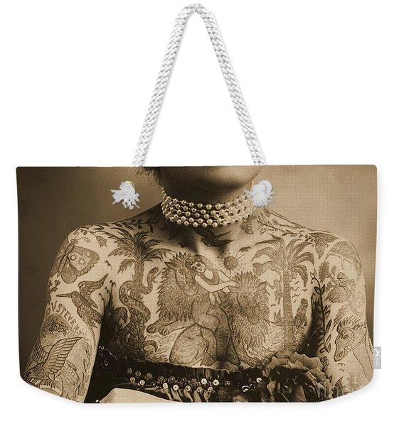 Portrait Of A Tattooed Woman Weekender Tote Bag