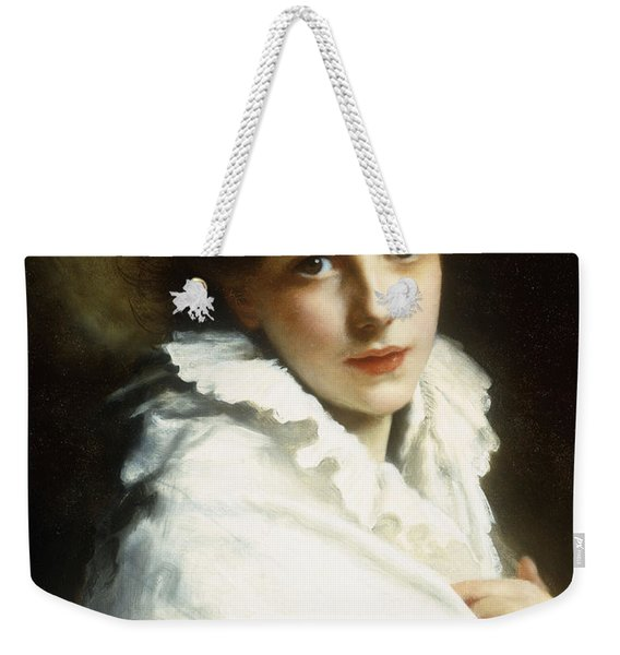 Portrait Of A Young Girl In White Weekender Tote Bag