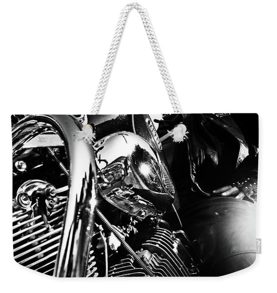 Portrait Of Biker Man Sitting On Motorcycle - Black And White Weekender Tote Bag