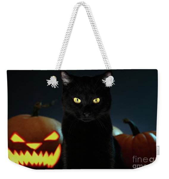 Portrait Of Black Cat With Pumpkin On Halloween Weekender Tote Bag