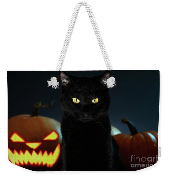 Portrait Of Black Cat With Pumpkin On Halloween Weekender Tote Bag