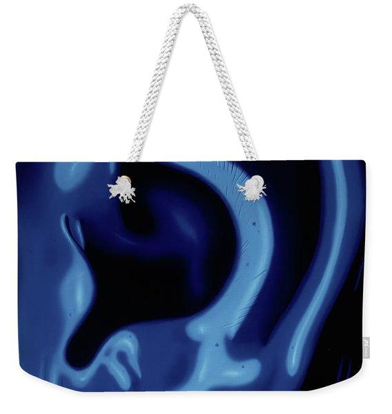 Portrait Of My Ear In Blue Weekender Tote Bag