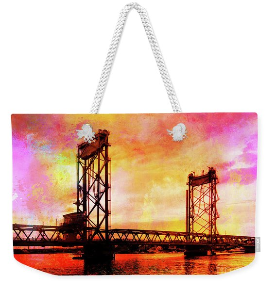 Portsmouth Memorial Bridge Abstract At Sunset Weekender Tote Bag