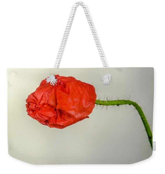 Posing Fire Red Poppy Weekender Tote Bag