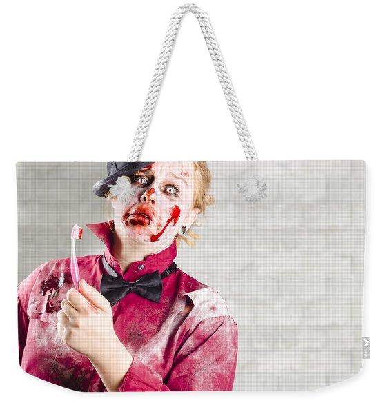 Possessed Girl With Bloody Toothbrush. Gum Disease Weekender Tote Bag