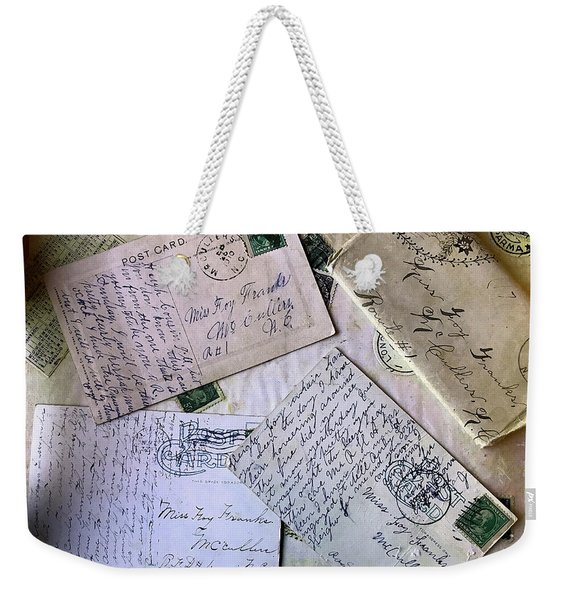 Weekender Tote Bag featuring the digital art Postcards And Proposals by Gina Harrison