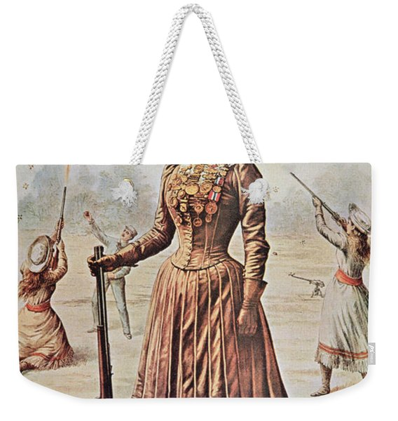 Poster For Buffalo Bill's Wild West Show With Annie Oakley Weekender Tote Bag