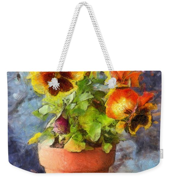 Potted Pansy Pencil Weekender Tote Bag