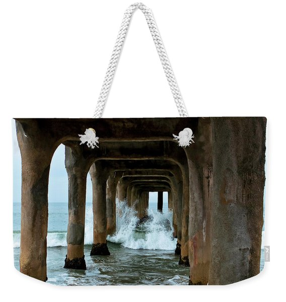 Weekender Tote Bag featuring the photograph Pounded Pier by Lorraine Devon Wilke