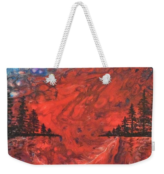 Pour - Red And Pines Weekender Tote Bag