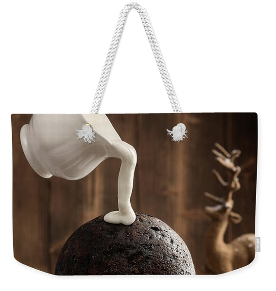 Pouring Cream Over Christmas Pudding Weekender Tote Bag