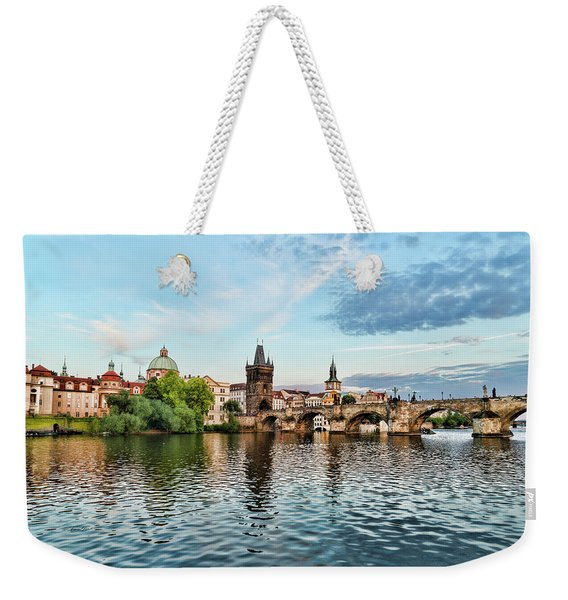 Prague From The River Weekender Tote Bag