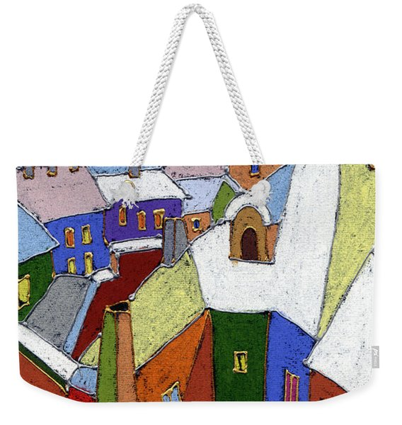 Prague Old Roofs Winter Weekender Tote Bag
