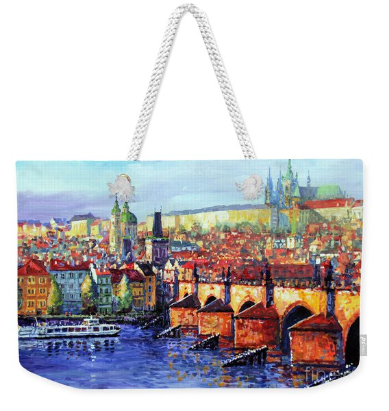 Prague Panorama Charles Bridge 07 Weekender Tote Bag