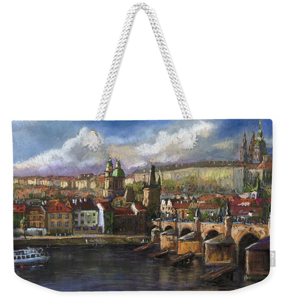 Prague Panorama Charles Bridge Prague Castle Weekender Tote Bag