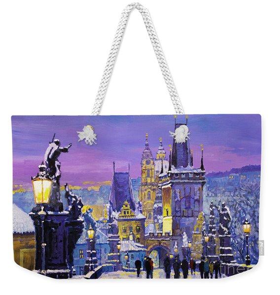 Prague Winter Charles Bridge 3 Weekender Tote Bag