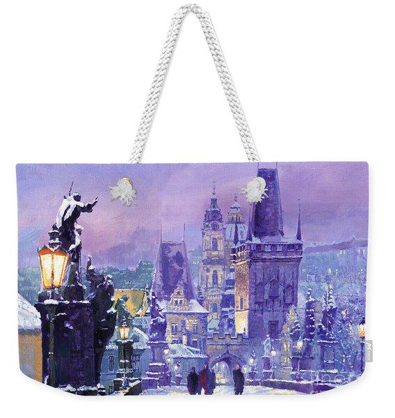 Prague Winter Charles Bridge Weekender Tote Bag