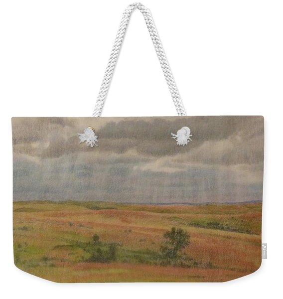 Weekender Tote Bag featuring the drawing Prairie Light by Cris Fulton