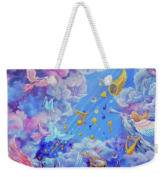 Weekender Tote Bag featuring the painting Praise Him From The Heavens by Nancy Cupp