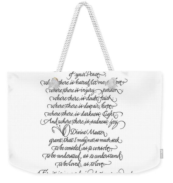Prayer Of St. Francis Of Assisi Weekender Tote Bag