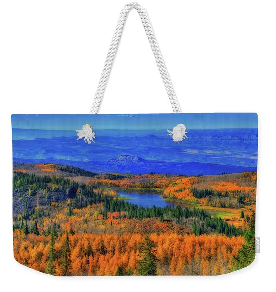 Prelude In Gold And Blue Weekender Tote Bag