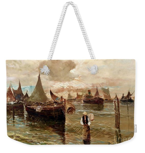 Weekender Tote Bag featuring the painting Preparing The Trap by Rosario Piazza