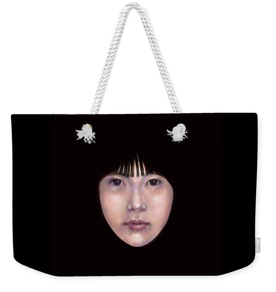 Weekender Tote Bag featuring the digital art Prescient Moon, Heart Aflame by Lora Serra