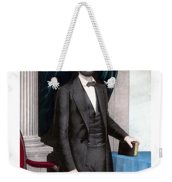 President Abraham Lincoln In Color Weekender Tote Bag