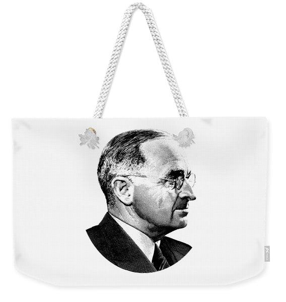 President Harry Truman Profile Portrait - Black And White Weekender Tote Bag