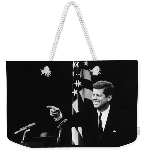 President Kennedy At Press Conference - 1962 Weekender Tote Bag