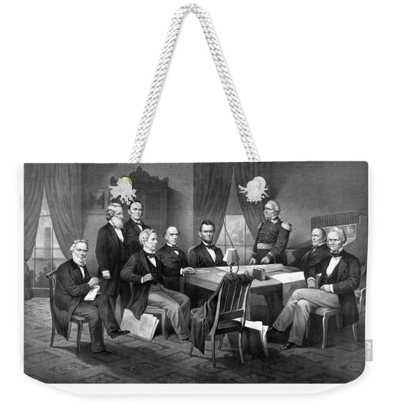 President Lincoln His Cabinet And General Scott Weekender Tote Bag