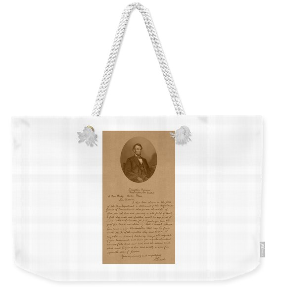 President Lincoln's Letter To Mrs. Bixby Weekender Tote Bag