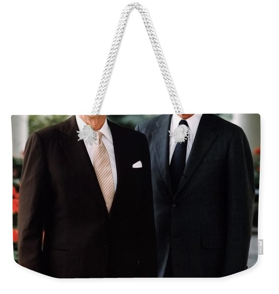 President Reagan And George H.w. Bush - Official Portrait  Weekender Tote Bag