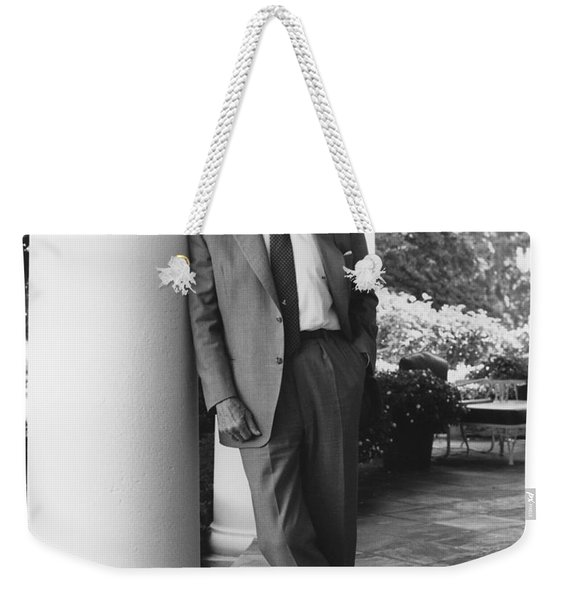 President Reagan Outside The White House Weekender Tote Bag