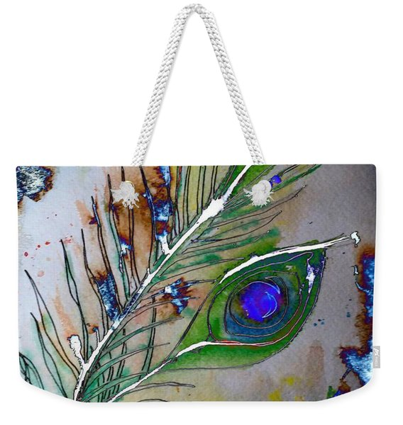 Weekender Tote Bag featuring the painting Pretty As A Peacock by Denise Tomasura