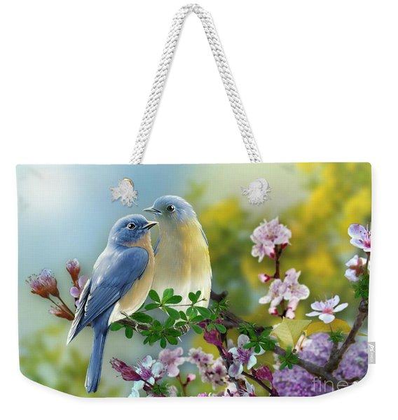 Pretty Blue Birds Weekender Tote Bag