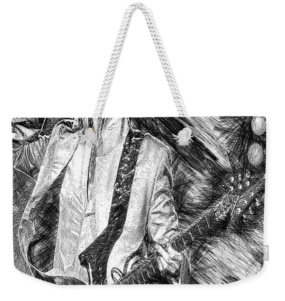 Prince - Tribute With Guitar In Black And White Weekender Tote Bag