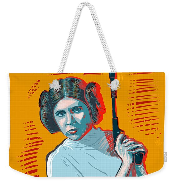 Weekender Tote Bag featuring the digital art Princess Leia by Antonio Romero