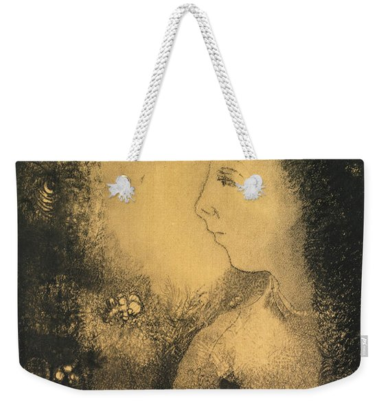 Profile Of A Woman With Flowers Weekender Tote Bag