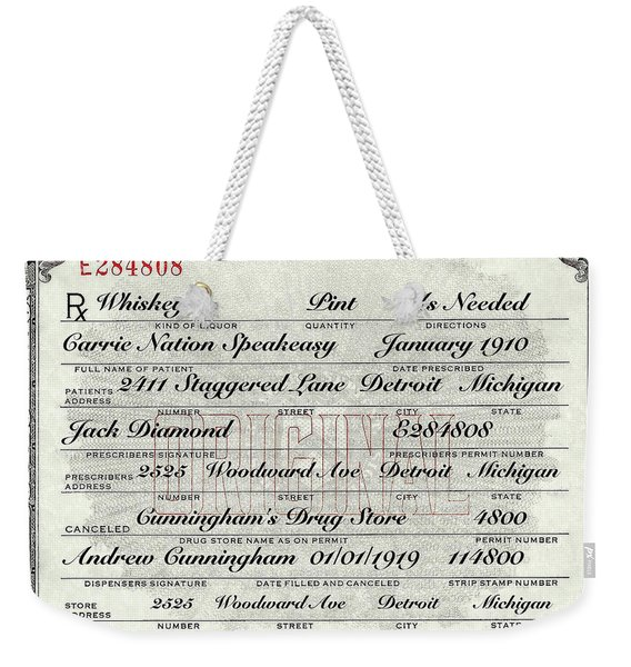 Prohibition Prescription Certificate Carrie Nation Speakeasy Weekender Tote Bag